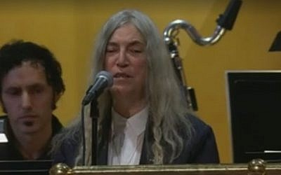 Patti Smith at the Nobel Prize ceremony, December 10, 2016 (Facebook video)