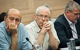 Likud Knesset member Benny Begin (benter) attends a Constitution, Law, and Justice Committee meeting on June 20, 2016. (Miriam Alster/Flash90)