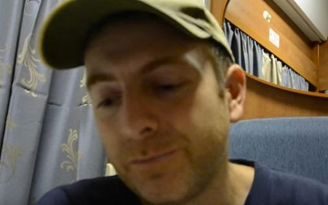Russian-Ukrainian-Israeli blogger Alexander Lapshin, seen in a September 2014 video. (Screen capture: YouTube)