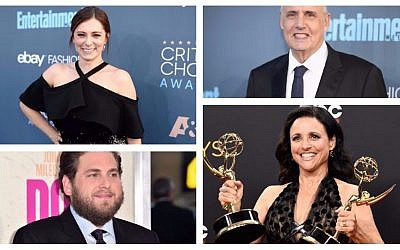 Top left, clockwise: Rachel Bloom, Jeffrey Tambor, Julia Louis-Dreyfus, Jonah Hill (Bloom, Tambor photos: Christopher Polk/Getty Images for The Critics' Choice Awards/JTA; Louis-Dreyfus photo: Frazer Harrison/Getty Images/JTA; Hill photo: Alberto E. Rodriguez/Getty Images/JTA)