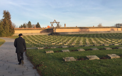 Jeremy Corbyn at the former Nazi concentration camp Theresienstadt, Dec. 3, 2016. (Screenshot from Twitter via JTA)