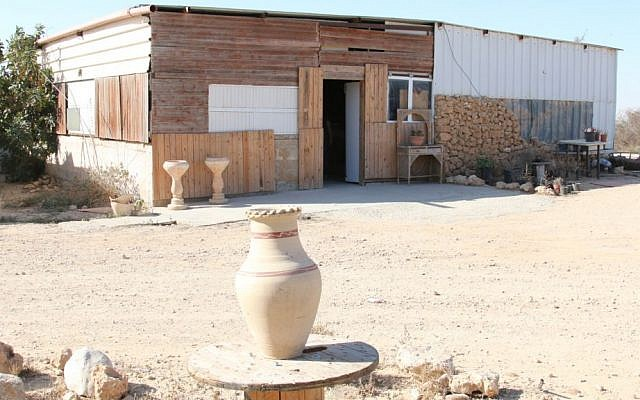 The entrance to the Daughter of the Desert in Tel Sheva. Mariam Abu Rakaek sells homemade cosmetics from the store. (Shmuel Bar-Am)