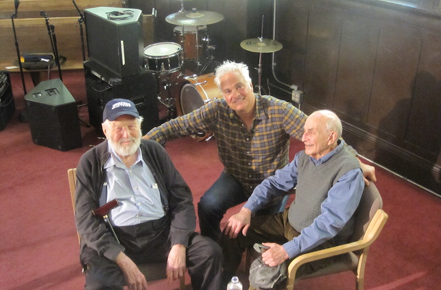 From left to right, Theodore Bikel, Craig Taubman and Myron Gordon in the recording studio in 2014. (Scott Christianson/via JTA)