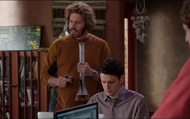T.J. Miller (with bong in hand) as Erlich Bachman in the TV comedy Silicon Valley. (Screen capture YouTube)