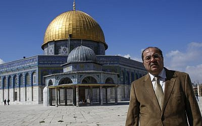 Arab-Israeli Member of Knesset, Ahmad Tibi, visits the Al Aqsa Mosque compound, on Tuesday, February 25, 2014. Photo by Sliman Khader/Flash 90.