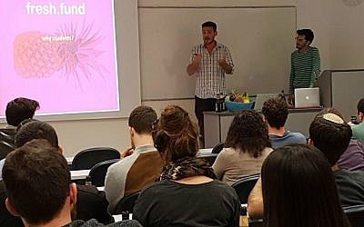 Fresh.fund managing partner, Zaki Djemal, left, and fresh.fund project manager, Nitzan Adler addressing students (Courtesy)