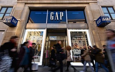 A view of a Gap store in London February 11, 2016. The brand never took off in Israel. (Ben Pruchnie/Getty Images via JTA)
