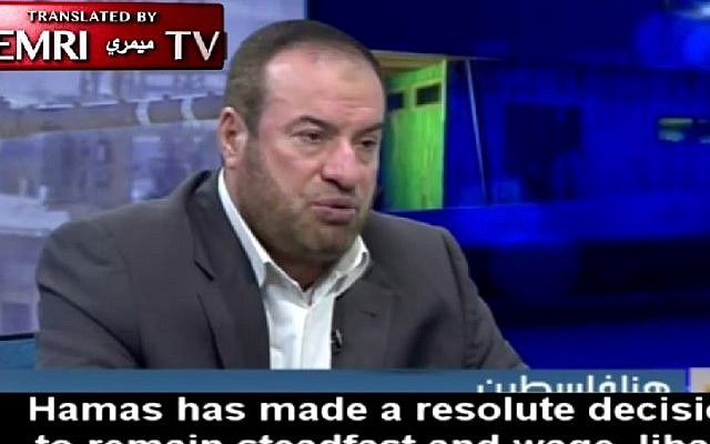 Hamas political bureau member Fathi Hammad speaks to Al-Aqsa TV, December 8, 2016. (Screenshot/MEMRI)