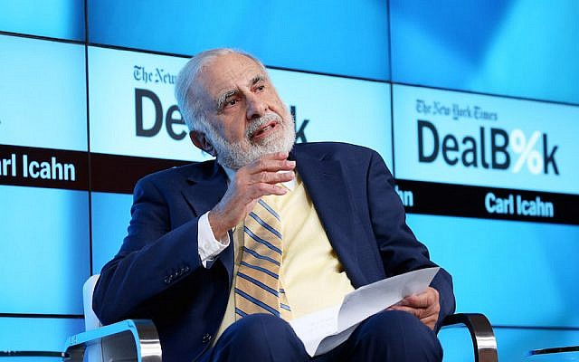 Carl Icahn participates in a panel discussion at a New York Times conference in New York City on November 3, 2015.  (Neilson Barnard/Getty Images for New York Times via JTA)