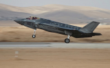One of Israel's first two F-35 stealth fighter jets takes off for its maiden flight as part of the Israeli Air Force on December 13, 2016. (IDF Spokesperson's Unit)