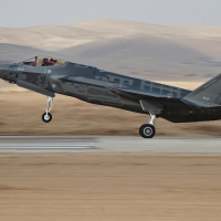 One of Israel's first two F-35 stealth fighter jets takes off for its maiden flight as part of the Israeli Air Force on December 13, 2016. (Israel Defense Forces)
