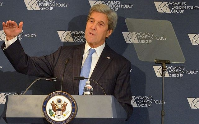 US Secretary of State John Kerry delivering remarks at the Women's Foreign Policy Group Conference in Washington, D.C., Nov. 29, 2016. (State Department)