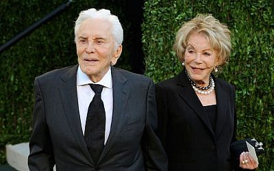 Kirk Douglas with wife Anne at Sunset Tower in West Hollywood, Calif., Feb. 24, 2013. (Mark Sullivan/WireImage/JTA)