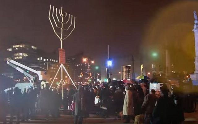 Illustrative: The 33-foot-tall menorah in Grand Army Plaza, in Brooklyn, September 12, 2012. (Screen capture: YouTube)