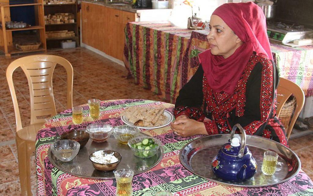 Mariam Abu Rakaek sells cosmetics made from natural, local products. (Shmuel Bar-Am)