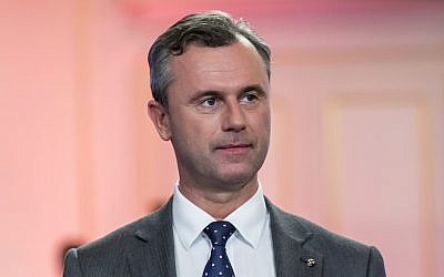Austrian presidential candidate Norbert Hofer at a Governmental TV channel event in Vienna, May 22, 2016. (Jan Hetfleisch/Getty Images/JTA)