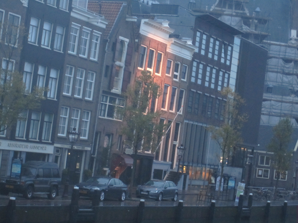 The Amsterdam office building (center) in which Anne Frank and her family hid for two years, November 2014 (Matt Lebovic/The Times of Israel)