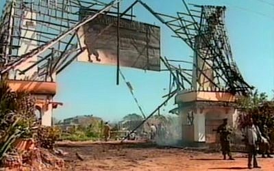 The aftermath of a car bombing at the Israeli-owned Paradise Hotel in Mombasa, Kenya on November 28, 2002. Thirteen people were killed and another 80 were wounded in the attack.  (screen capture: ABC)