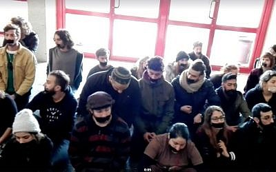 Bezalel Academy of Art students protest against what they see as curbs on freedom of speech, December 14, 2016. (Screen capture, Bezalel Academy facebook page)