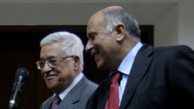 Jibril Rajoub with Mahmoud Abbas (Issam Rimawi / Flash90)
