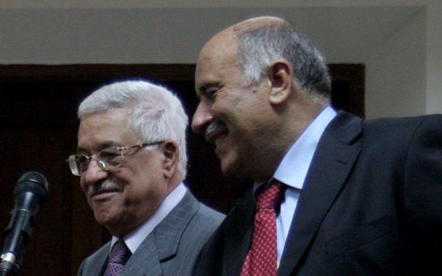 Jibril Rajoub with Mahmoud Abbas (Issam Rimawi / Flash90)