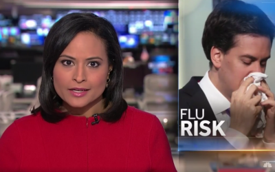 NBC segment on flu season featuring a picture of former UK Labour Party leader Ed Miliband. (Screen capture: Twitter)