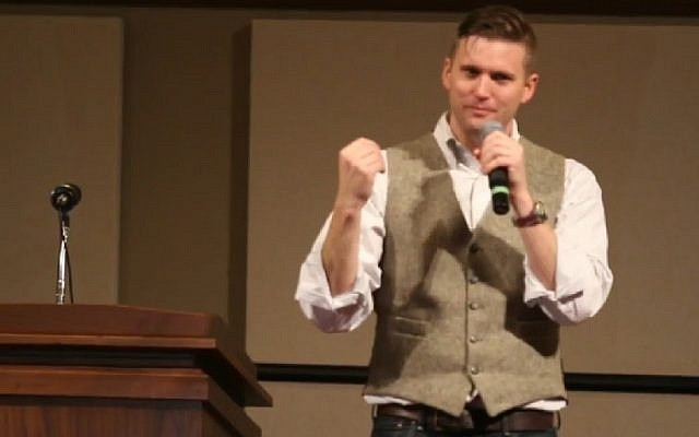 Richard Spencer, the self-styled leader of the so-called alt-right movement, speaks at Texas A&M University on December 6, 2016. (Screenshot)