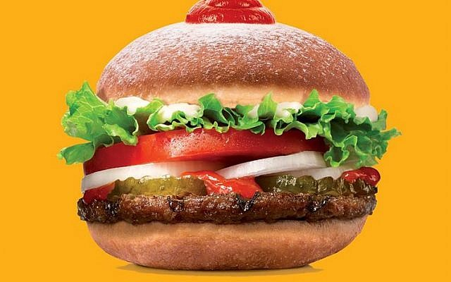 The 'sufganiking' donut-burger combo by Burger King, released in Israel in December 2016 to mark the Jewish holiday of Hanukkah, during which donuts (sufganiyot) are traditionally eaten (Courtesy)