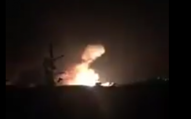 Screen shot of footage of alleged Israeli missile strike on the Syrian Mazzeh airbase  near Damascus on December 7, 2016. (Credit: Twitter)