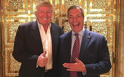 Donald Trump meets Nigel Farage, the first UK politician to meet the president-elect after the November 8, 2016 elections (Twitter)