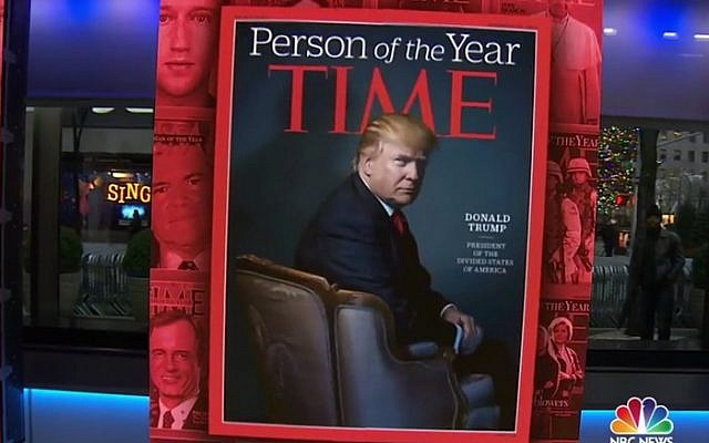 NBC's Today program reveals that Donald Trump is Time magazine's Person of the Year for 2016 (screen capture: NBC)