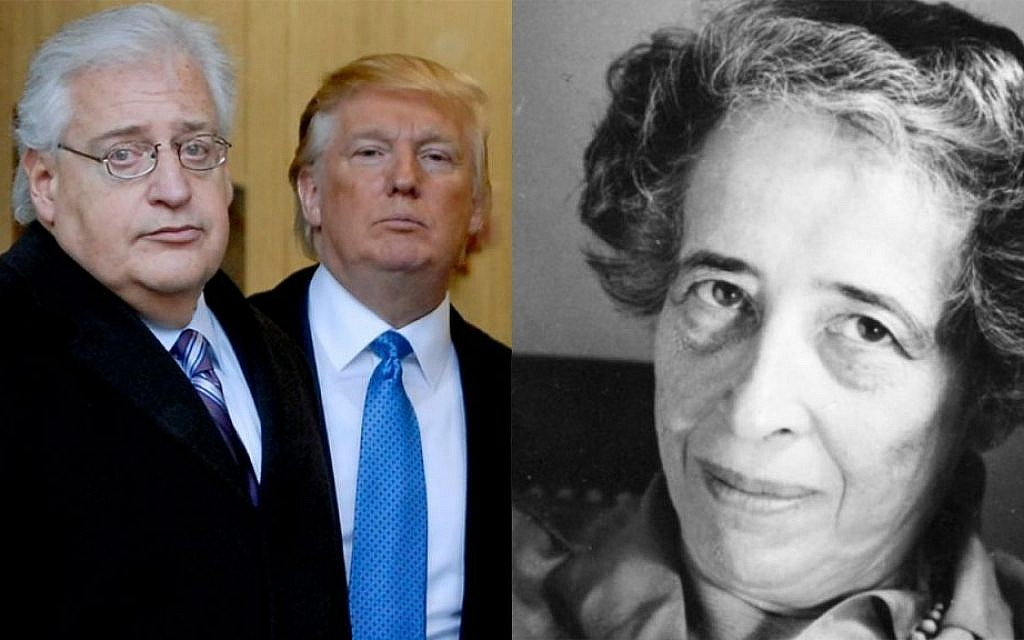 David Friedman (left), the choice of President-elect Donald Trump to serve as ambassador to Israel, and German-Jewish philosopher Hannah Arendt (Bradley C Bower/Bloomberg News, via Getty Images/JTA; Public domain)