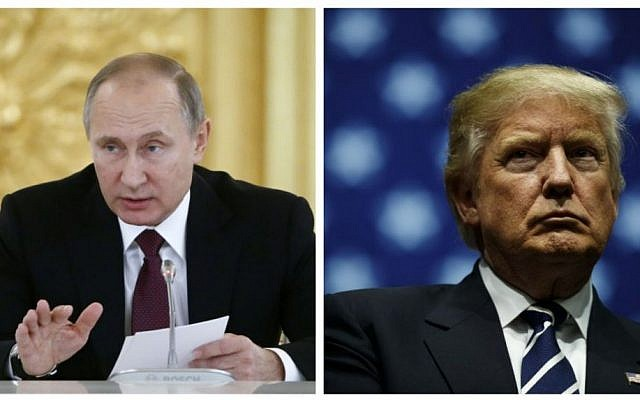 This combination of pictures shows Russian President  Vladimir Putin, left, delivering a speech at the Kremlin in Moscow on December 8, 2016; and President-elect Donald Trump, right, at the DeltaPlex Arena, December 9, 2016 in Grand Rapids, Michigan. (AFP)