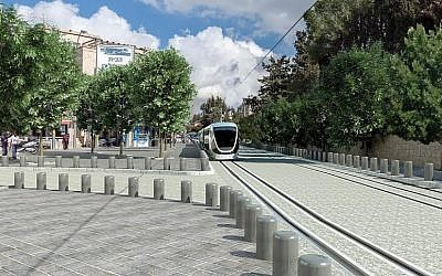 Photo distributed by the Jerusalem City Hall demonstrating how Emek Refaim Street will look with a new planned light rail line. (Jerusalem City Hall)