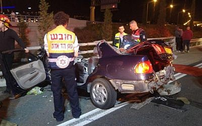 Scene of the crash on Route 431 on Sunday, December 4, 2016. (Magen David Adom Spokesperson)