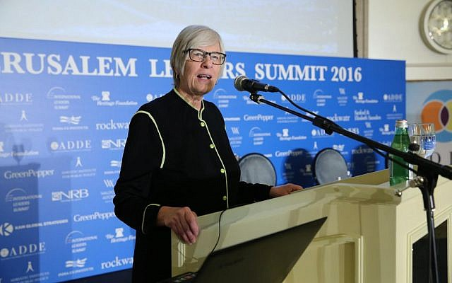 Becky Norton Dunlop, deputy to the senior adviser on President-Elect Donald Trump's transition team for policy and personnel, speaking at the Jerusalem Leaders Summit, December 19, 2017. (Courtesy)