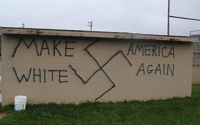 Illustrative: Nazi-themed election graffiti was found in the upstate New York town of Wellsville on the day that Donald Trump was declared the winner of the presidential election, Nov. 9, 2016. (Twitter via JTA)