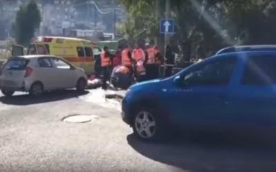 Scene of one of the two shootings in Haifa on Tuesday, January 3, 2017. (Screen capture: YouTube)