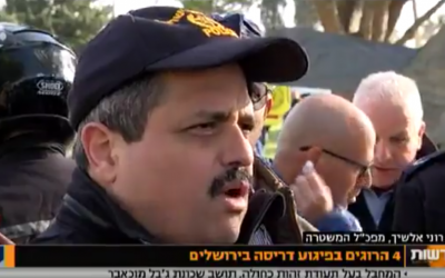 Israel Police Commissioner Ron Alsheich at the scene of a truck ramming attack in the Jerusalem neighborhood of Armon Hanatziv in which four people were killed and 16 injured. (Screen capture: Channel 10)