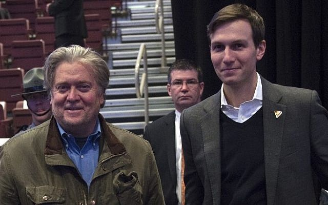 President-elect Donald Trump's chief strategist, Stephen K. Bannon, left, and Jared Kushner, the son-in-law of Donald Trump, listen to the President-elect's speech at the USA Thank You Tour 2016 at the Giant Center, in Hershey, Pennsylvania, December 15, 2016. (AFP/Don Emmert)