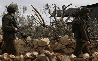 Illustrative: Troops near the West Bank town of Qalqilya on January 8, 2017. (AFP/Jaafar Ashtiyeh)