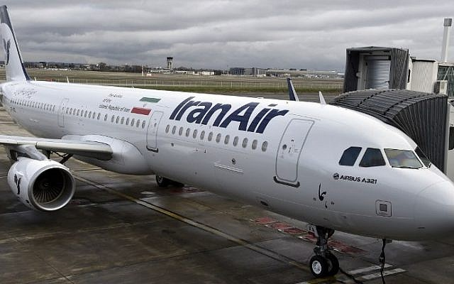 An Airbus A321 bearing the logo of Iran Air is pictured on January 11, 2017 at the Airbus delivery center, in Colomiers southwestern France. (AFP PHOTO / PASCAL PAVANI)