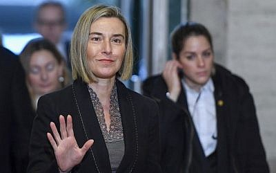 EU foreign policy chief Federica Mogherini arrives for Cyprus peace talks on January 12, 2017 at the United Nations Offices in Geneva. (AFP Photo/Philippe Desmazes)