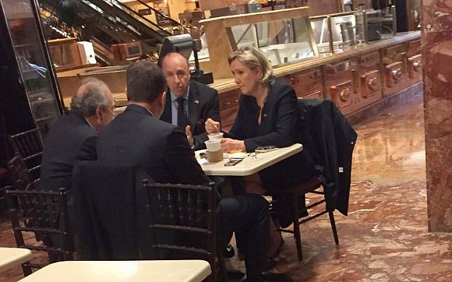 Far-right French presidential candidate Marine Le Pen, right, when spotted at US President-elect Donald Trump's New York headquarters building, having coffee at Trump Ice Cream Parlor on the ground floor of Trump Tower, January 12, 2017. (AFP/HUFFINGTON POST/TRANSITION POOL/Samuel LEVINE)