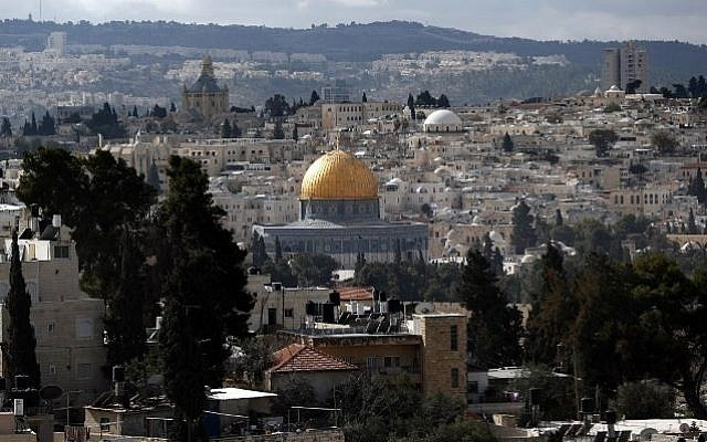 A general view taken on January 13, 2017 shows the Dome of the Rock at the Aqsa mosque compound in the Old City of Jerusalem. (Thomas Coex/AFP)