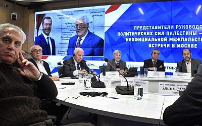 Representatives of Palestinian organizations hold a press conference in Moscow following reconciliation talks on January 17, 2017. (AFP PHOTO/Alexander NEMENOV)