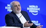 Iran's Foreign Minister Mohammad Javad Zarif speaks during a meeting on the second day of the World Economic Forum, on January 18, 2017, in Davos. (AFP/Fabrice Coffrini)