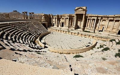 The Roman amphitheater in the ancient city of Palmyra in central Syria, March 31, 2016. (AFP/Joseph Eid, File)