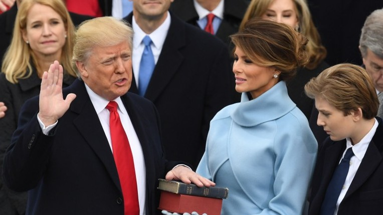 US President-elect Donald Trump is sworn in as President on January 20, 2017 at the US Capitol in Washington, DC. (AFP PHOTO / Mark RALSTON)