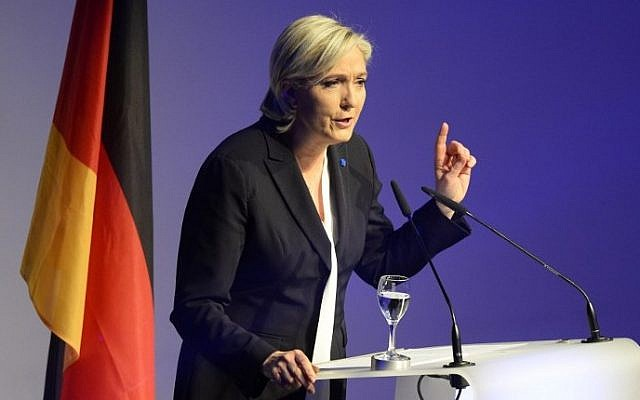 French National Front (FN) leader Marine Le Pen gives a speech to open a meeting on January 21, 2017 in Koblenz, western Germany. (AFP PHOTO / Roberto Pfeil)